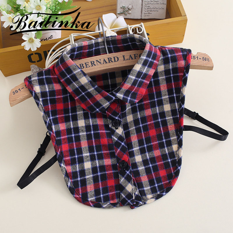 Badinka 2019 New Girl Boy Removable Shirt Fake Collar Kraag Plaid Peter Pan False Detachable Collars For Children Kids Faux Col
