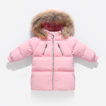 Fashion Winter Fur Collar Warm White Duck Down Filler Long Child Coat Children Outerwear Baby Boys Girls Jackets For 75-130cm недорого