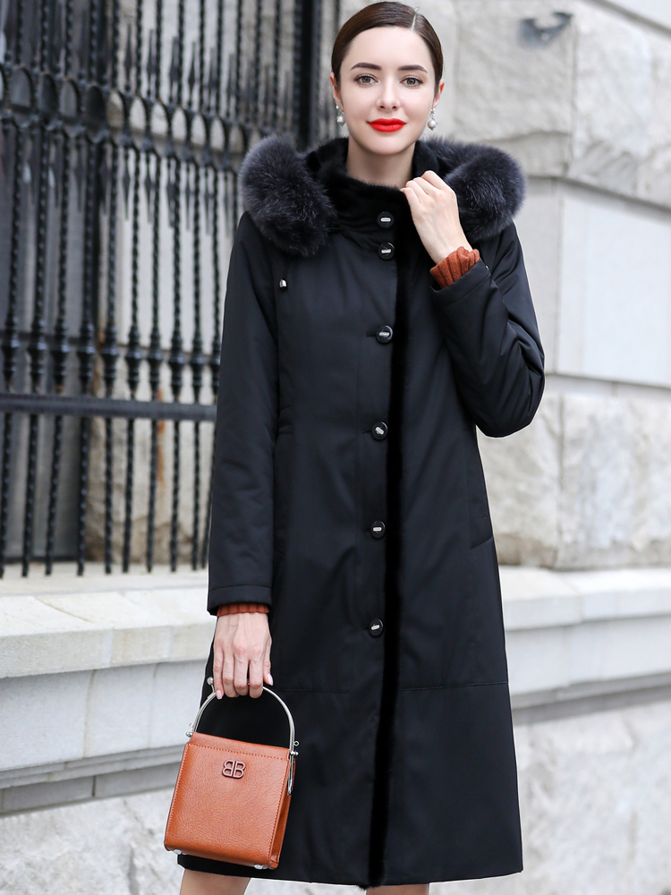 Rabbit Natural Fur Liner Parka Women Fox Mink Fur Collar Long Jackets Winter Jacket Women Warm Overcoat Plus Size MY3955