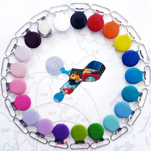 Sutoyuen 150pcs 1 25mm 15 Colors Metal Assorted Enamel Round Suspender Clips Baby Pacifier Clip Man \ Dummy Clip