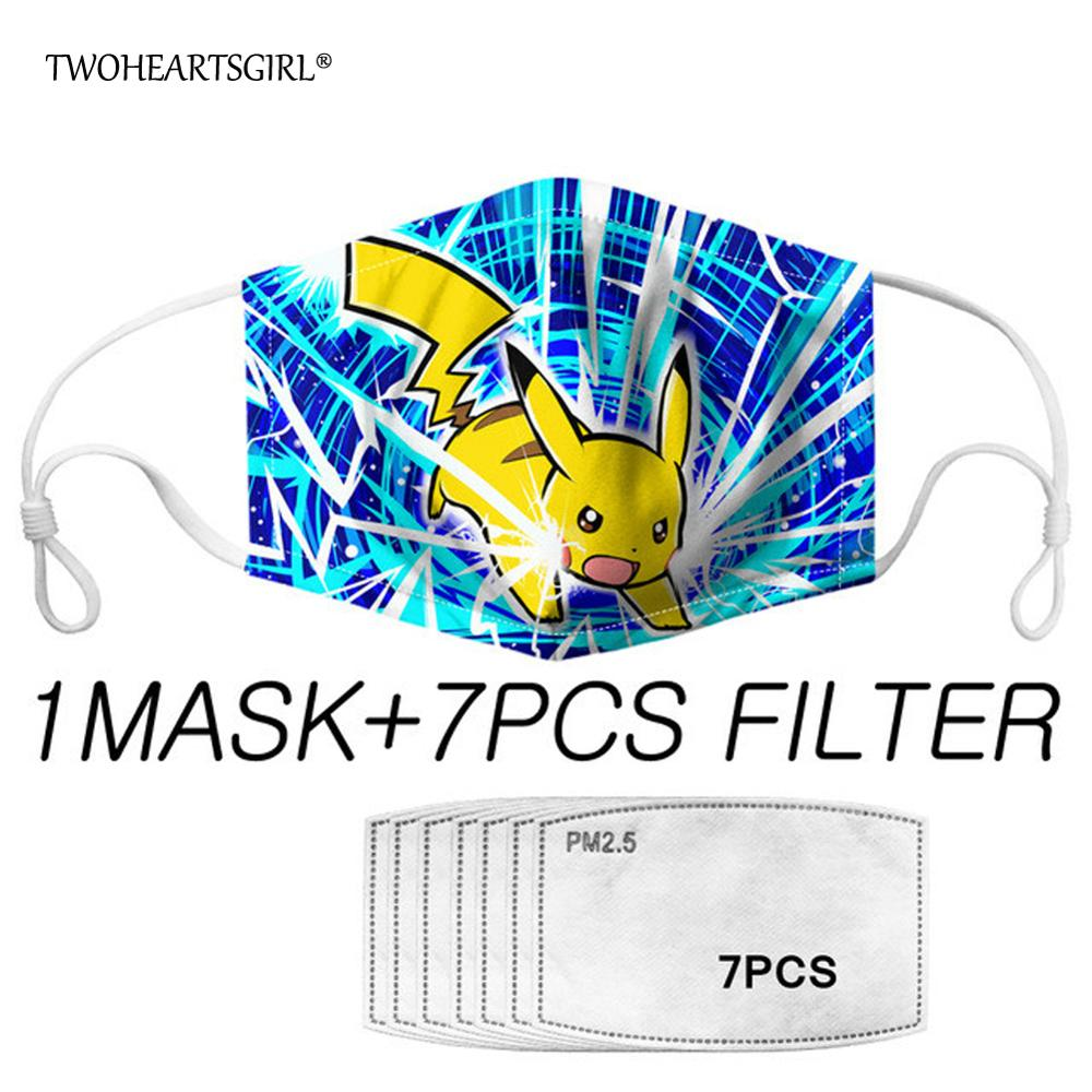 Cute Pokemon Face Mask For Kids Dust Detective Pikachu Anime Print Reusable Mouth Masks Prevent Bacteria Filters Mascaras