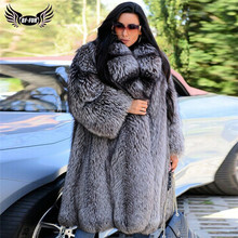 Luxury Natural Silver Fox Fur Coat For Women Thick Warm Winter Genuine Fox Fur Jacket With Big Lapel Collar Real Fur Overcoats women winter real red fox fur coat 120cm long luxury for female red fox fur jacket with big turn down collar thick warm fur coat