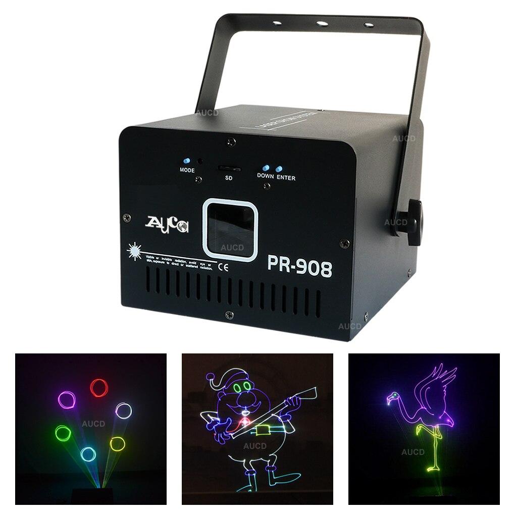 AUCD 500mW RGB White Laser ILD TF Card Program Animation Scan Projector Lights Beam DMX Disco Party DJ Show Stage Lighting PR908