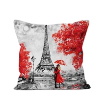 Pillow-Cover Home Red Peach Sofa Leaf Velvet Valentine's-Day-Series 6-Styles