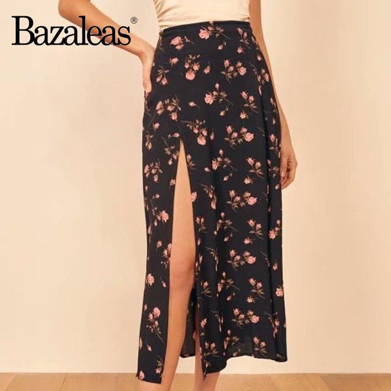 Bazaleas элегантная женская юбка, винтажная розовая с цветочным принтом Черная Женская юбка миди, шифоновая юбка миди|Юбки|   | АлиЭкспресс
