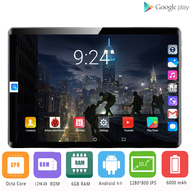New Original 10.1 Inch Tablet Pc Octa Core 4G Phone Call 10 Tablets 6G+128G Android 8.0 Tab Google Market GPS WiFi FM Bluetooth