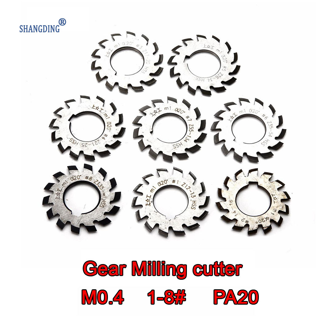 M0.4  Modulus  PA20 Degrees NO.1-NO.8 8pcs  HSS  Gear Milling Cutter Gear Cutting Tools  Free Shipping