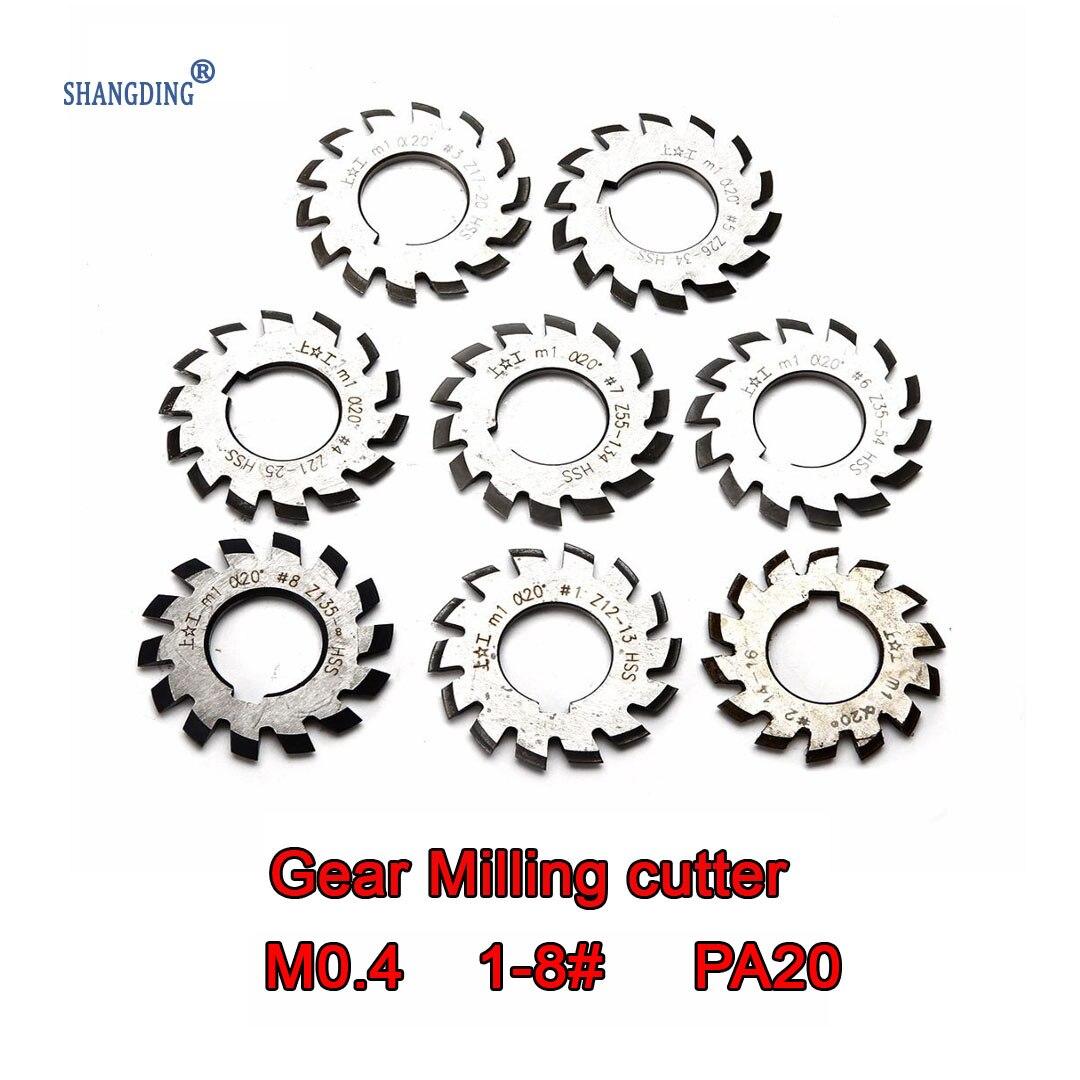 M0.4  Modulus  PA20 Degrees NO.1-NO.8 8pcs  HSS  Gear Milling Cutter Gear Cutting Tools  Free Shipping