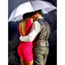 Lovers Under the Umbrella Hand Made Paint High Quality Canvas Beautiful Painting By Numbers Surprise Gift Great Accomplishment(China)