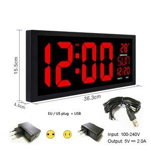 Image 2 - TXL nuovo LED rosso orologio da parete, Orologio Da Tavolo, A duplice uso Ufficio Decor USB moderno design Per La Casa di grandi dimensioni orologi Grandi cifre EU/spina di potere DEGLI STATI UNITI