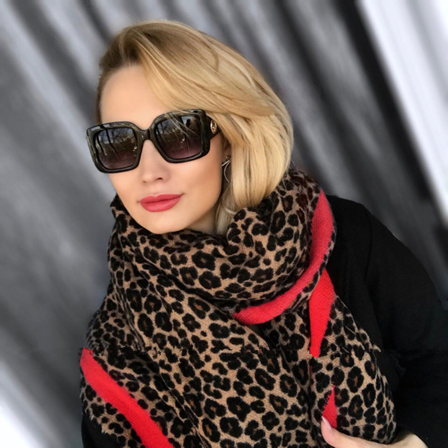 Lakysilk Luxury Brand Leopard Cashmere Scarf Women Winter Warm Designer Ladies Fashion Pashmina Shawl Foulard Girls Head Scarves