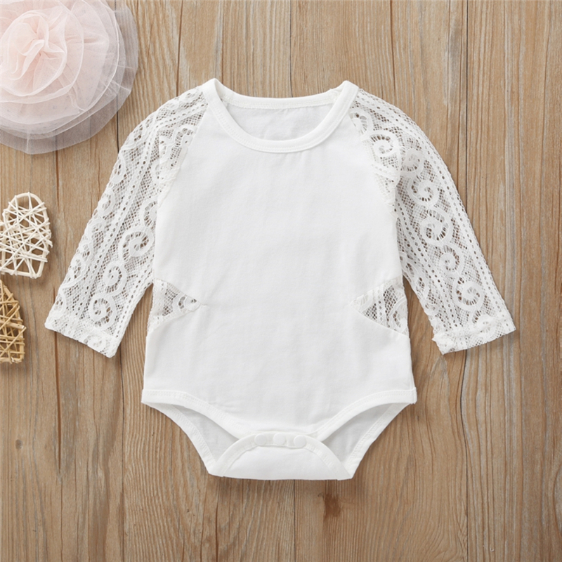 Newborn Infant Baby Girls Clothes O Neck Long Lace Sleeve Romper Hollow Out Solid Color Jumpsuit Casual Cotton Outfits Autumn