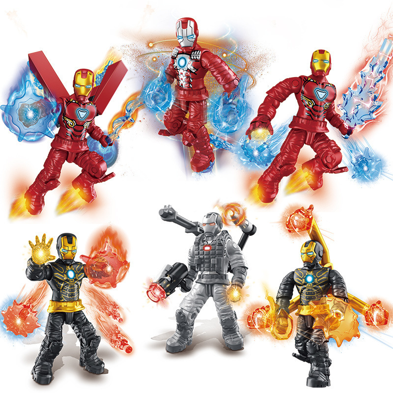 Iron Man Super Heroes Mega Model Building Blocks War Machine Mk85 Mk20 MK47 MK6 Mk41 Action Figures Assemable Bricks Toys Gifts