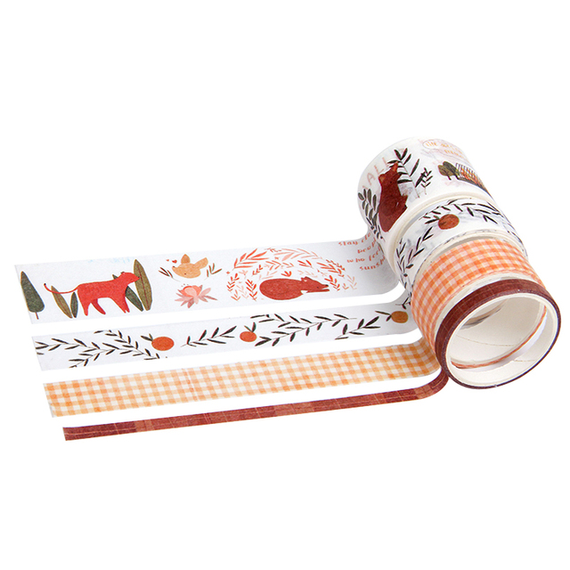 4pcs/lot Kawaii Washi Tape Set Fall Plant Masking Tape for Planner Bullet Journal DIY Stickers Scrapbooking Stationery Stickers 5