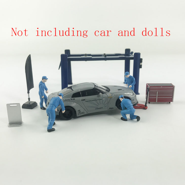 1:64 Garage Tool Sets Repair Accessories Tools Model Car Scene