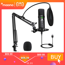 MAONO PM401 USB Microphone Set 192KHz/24Bit Microfone Professional Cardioid Condenser Podcast Mic with Mute Button & Audio Jack