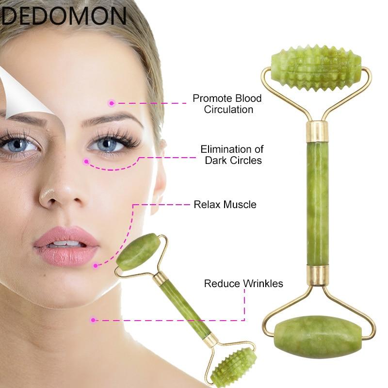1Pc טבעי ירקן רולר פנים יופי עיסוי כלי פנים דק לעיסוי הרפיה אנטי קמטים ראש לעיסוי בריאות כלים
