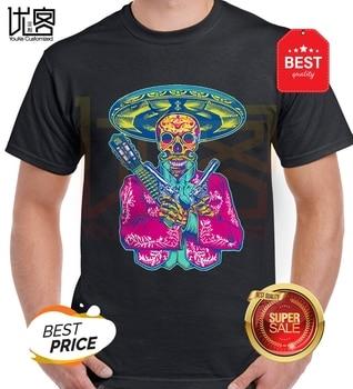 Camisetas de calavera para hombre de verano 2019, camiseta de manga corta con calavera mexicana para hombre alto y alto, Camiseta con estampado de calavera de azúcar PP