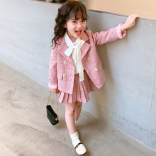 Plaid School Suits for Baby Girl Formal Wear Cotton Girls Suits
