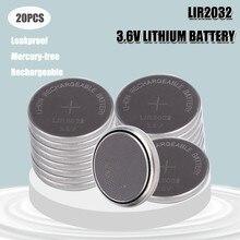 20 pièces Lithium-ion rechargeables LIR2032, 3.6V, remplacement pour montre et ordinateur, nouveauté, LIR 2032 CR2032/ML2032