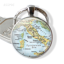 Europe Countries Map Glass Cabochon Keychain Italy France Scotland Poland Fashion Souvenir Jewelry Gift