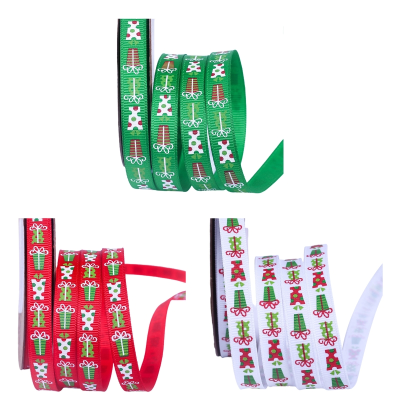 7 Rolls 25 Yards 3/8 Inch Gift Box Printing Christmas Red Green White Grosgrain Ribbon Roll for DIY Wrapping Party Decor