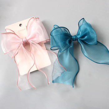 New style childrens hair accessories import beautiful big bow clip girls head top  pink