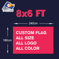 8x6FT Custom Advertising Hand Flag Free HD Design Digital Printing 240X180cm 100D Polyester All Styles and Logos Customize New