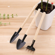 цена на 3pcs/Set Mini Gardening Tools Wood Handle Stainless Steel Potted Plants Shovel Rake Spade for Flowers Potted Plant