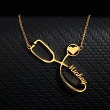 Personalized Custom Stethoscope Name Necklaces For Women Men Gold Silver Stainless Steel Long Chain Nameplate Pendant Necklace