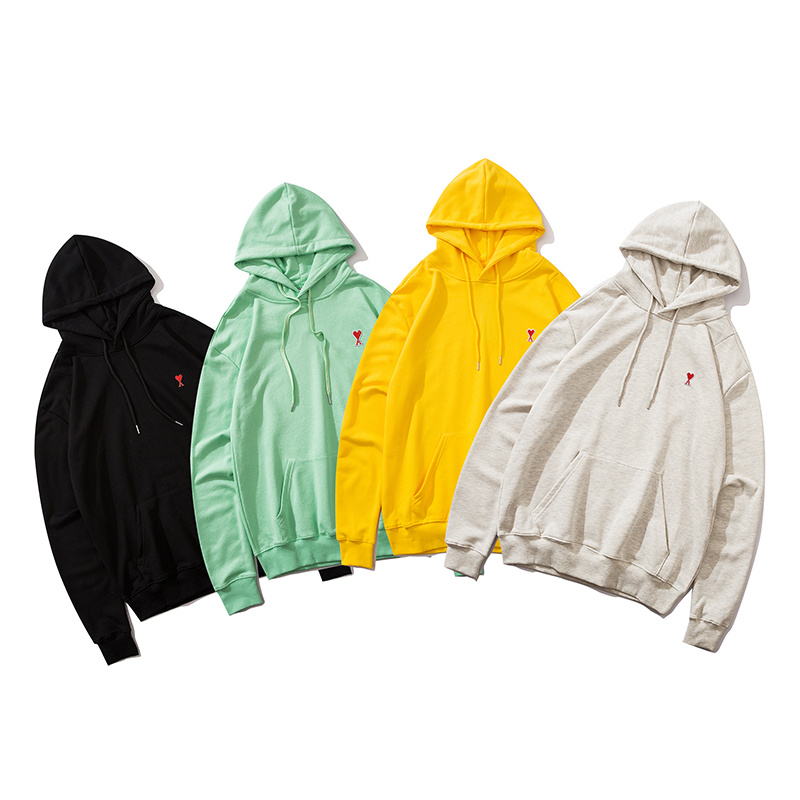 2020 Fall And Winter Paris Small Heart Embroidery Hoodies Men Women HipHop Cotton Oversized Hooded Sweatshirts Men