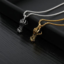 Vintage Punk Skull Hand Pendant Necklace Long Chain Choker Gothic Stylish Jewelry Collana Donna For Women Men Jewelry Gifts stylish skull cross pendant necklace for men