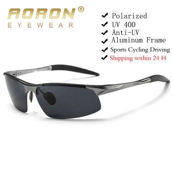 AORON Driving Polarized Sunglasses Men Aluminum Magnesium Frame Sport Sun Glasses Driver Retro Goggles Sunglass UV400 Anti-Glare 1