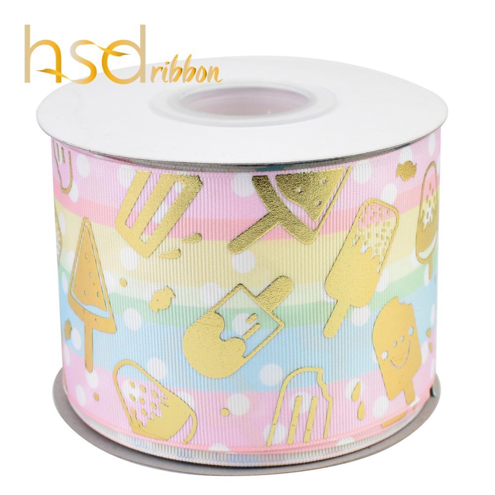 HSDRibbon 75 MILLIMETRI 3 pollici Designer custom Ice cream oro Foil Stampato sul Nastro Del Grosgrain-in Nastri da Casa e giardino su  Gruppo 2