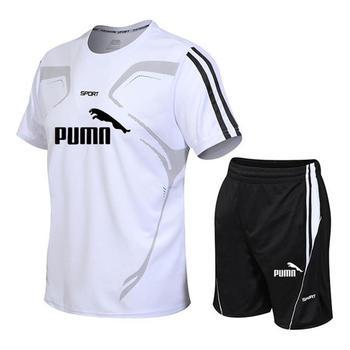 New men's sportswear suit GYM fitness suit football training suit jersey running men's suit T-shirt + shorts casual sportswear цена 2017