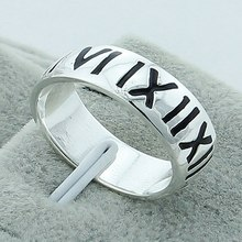 Vintage Roman Numerals Fashion 925 Silver Women Ring High Quality Jewelry Punk Party Man Finger Wholesale