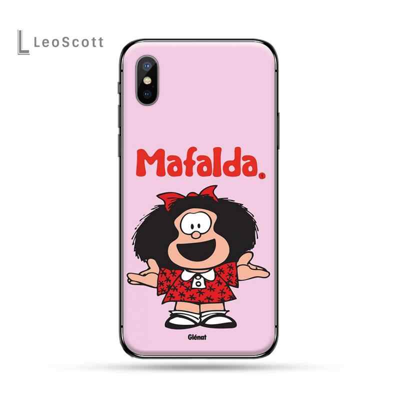 Argentina Quino Mafalda Gadis Lembut Hitam Ponsel Case untuk Iphone 5 5s 5c Se 6 6S 7 7 Plus X Xs Xr 11 pro Max