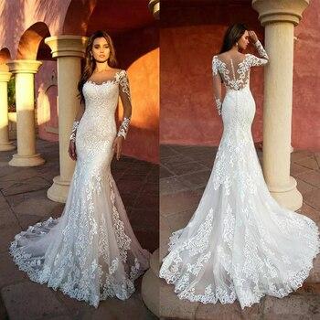 Mermaid Wedding Dresses Sheer Neck for Women Long Sleeve Bride Gowns 2021 Lace Vestidos De Noiva Button Sexy Simple de mariée 3