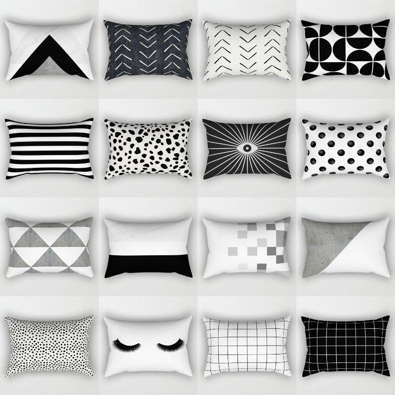 Elife Bohemian Geometric Black&White Polyester Decorative Rectangular Pillows Shame Throw Cushion Cover For Sofa Car 30x50cm