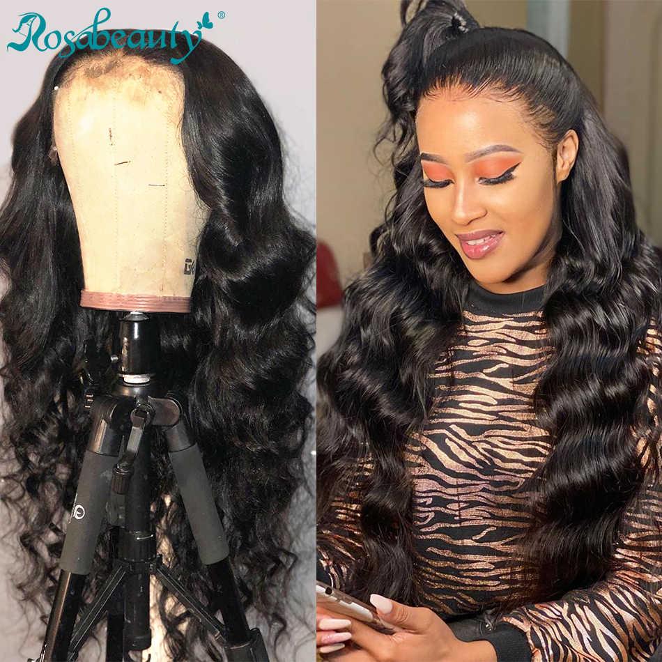Rosabeautyレースフロント人毛かつらペルー実体波 26 インチ 360 フロントかつら黒人女性のための事前と摘み取らベビーヘアー