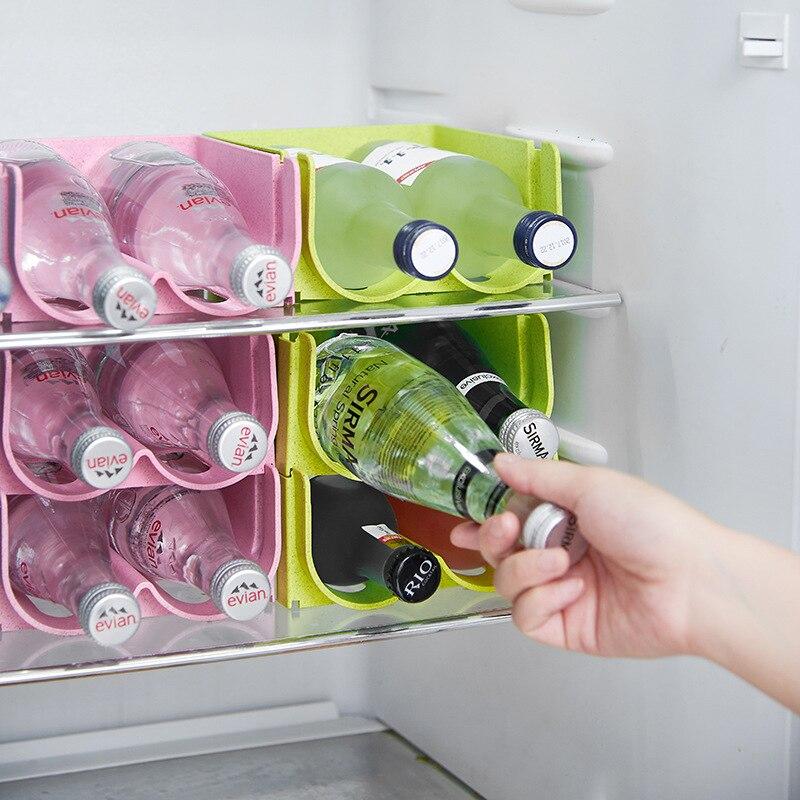 2 Slots Kitchen Refrigerator Organizer Beer Wine Bottle Storage Rack Wine Holder Space Saving Kitchen Tools Organizer