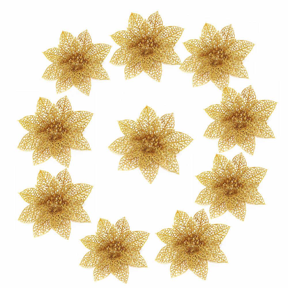 10 Pcs/set Natal Bunga Pohon Xmas Dekorasi Natal Ornamen Glitter Menikah Natal Pesta Ulang Tahun Dekorasi Rumah 8 Cm