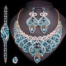 Conjunto de joyería nupcial de lujo para boda, anillo de cristal, pulsera, collar, conjunto de pendientes, accesorios de fiesta de disfraces indios, regalo para mujer
