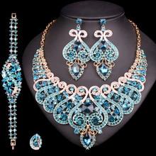 Ensemble de bijoux de luxe pour mariage, bague en cristal, Bracelet, collier, boucles doreilles, accessoires de soirée indienne, cadeau idéal pour femmes