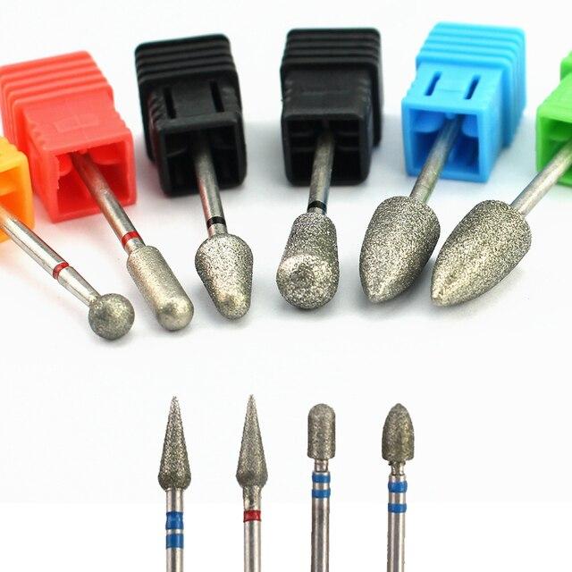 Brocas rotativas de diamante para manicura, 1 uds., limas eléctricas para máquina de pedicura, limpieza de cutículas, accesorios