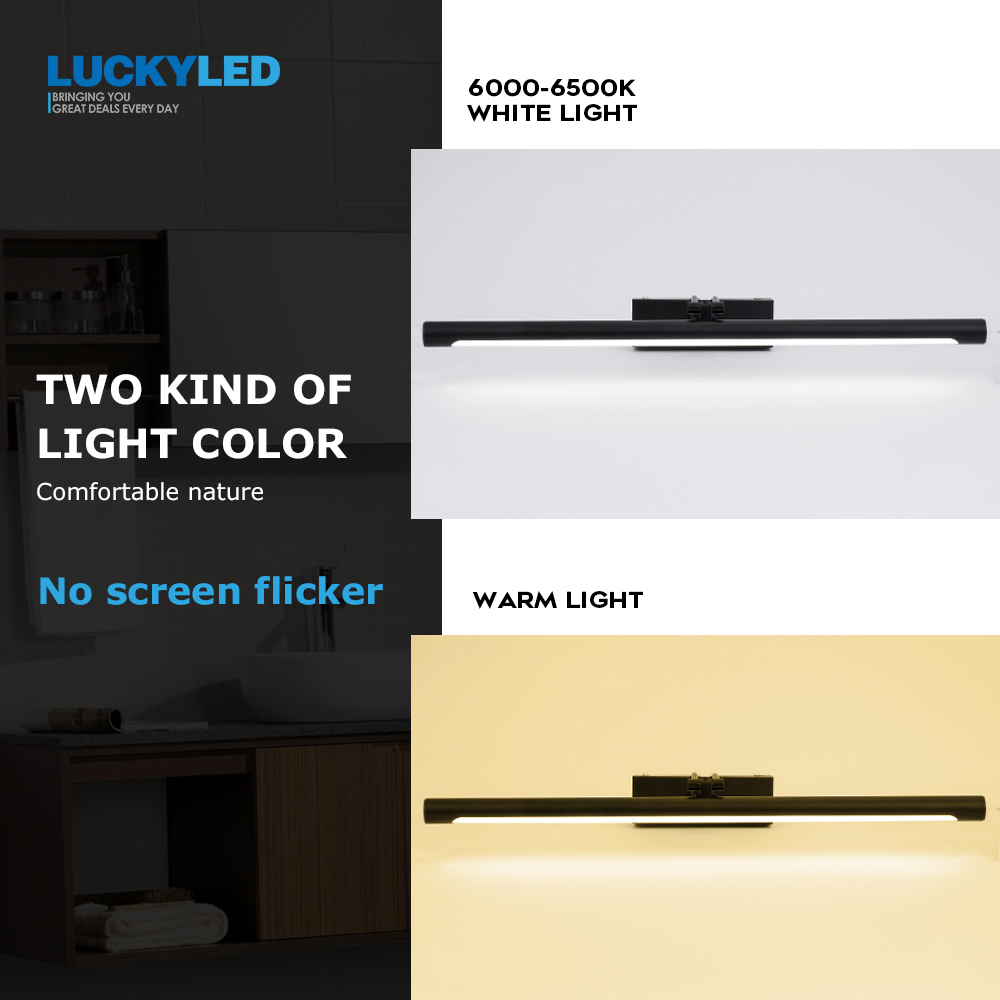 LUCKYLED Modern Led Mirror Light  8W 12W AC90-260V Wall Mounted Industrial Wall Lamp Bathroom Light Waterproof Stainless Steel 5