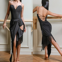 Latin Dance Dress Black Sexy Backless Bodysuit Fringe Skirt Tango Salsa Cha Cha Samba Rumba Women Performance Costumes DNV11865