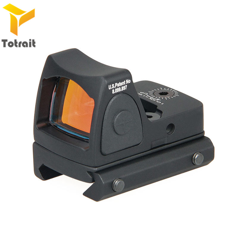 Totrait Mini RMR Red Dot Sight Collimator Glock / Rifle Reflex Sight Scope Fit 20mm Weaver Rail For Airsoft / Hunting Rifle