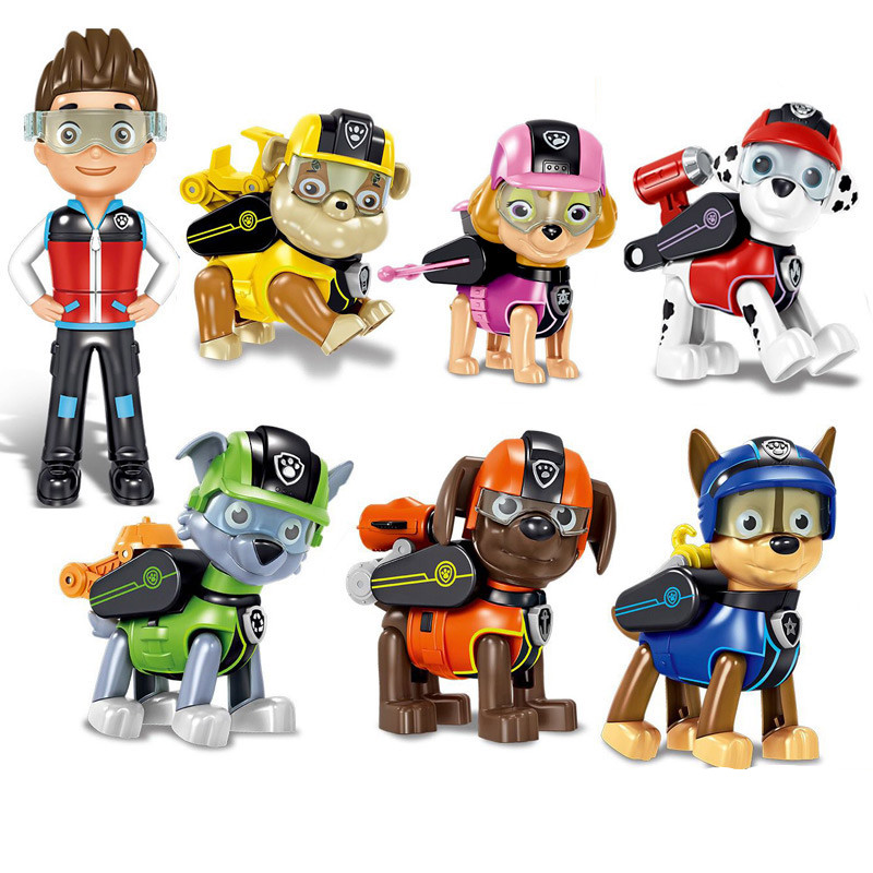7 Pcs/Set Paw Patrol Dog Anime Kids Toys Weapons Can Eject Action Figure Model Patrulla Canina Children Christmas Gifts