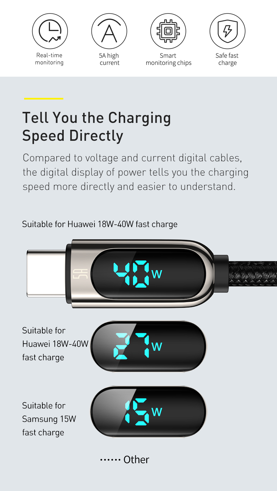 Baseus Display Fast Charging Data Cable USB to Type-C 5